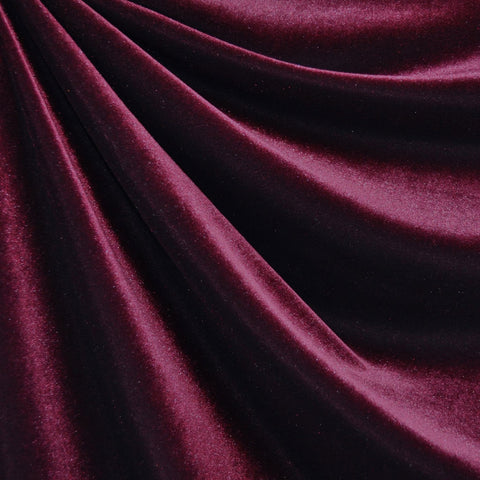 Stretch Velvet Solid Burgundy