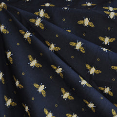 Royal Bee Crepe De Chine Black - Fabric - Style Maker Fabrics