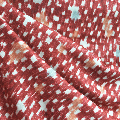 Japanese Rayon Double Gauze Brushstrokes Red