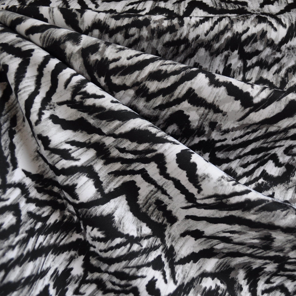 Techno Athletic Knit Snow Tiger Black/White - Fabric - Style Maker Fabrics