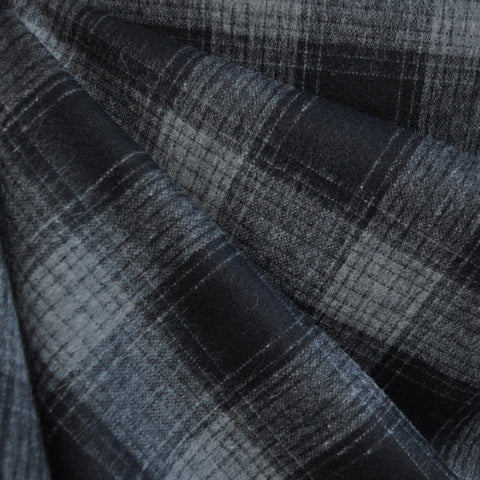 Wool Blend Plaid Black/Grey