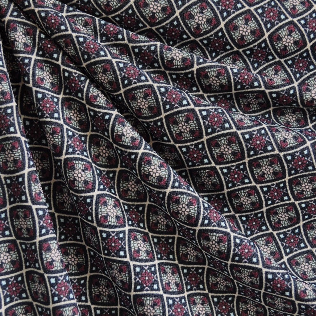 Stained Glass Crepe Knit Plum/Black - Fabric - Style Maker Fabrics