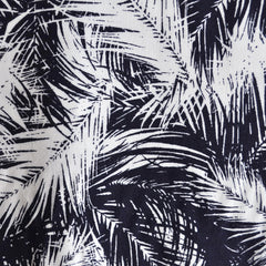 Tropical Palms Rayon Challis Navy/Wht - Sold Out - Style Maker Fabrics