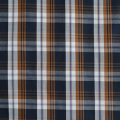 Autumn Plaid Fine Shirting Navy/Caramel  SY - Sold Out - Style Maker Fabrics