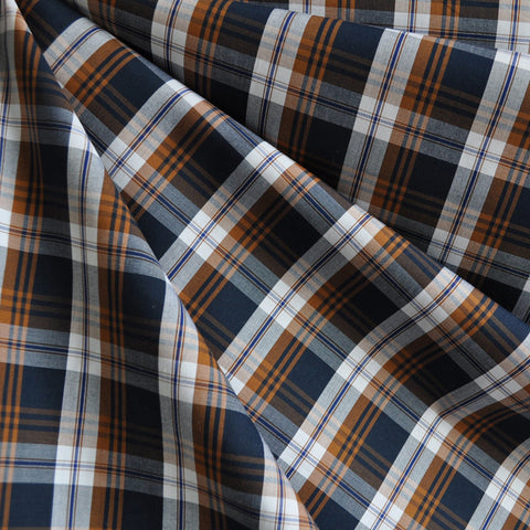 Autumn Plaid Fine Shirting Navy/Caramel