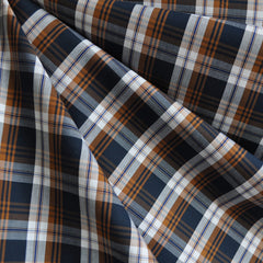 Autumn Plaid Fine Shirting Navy/Caramel - Fabric - Style Maker Fabrics