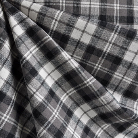 Plaid Brushed Cotton Shirting Grey/Cream