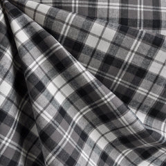 Plaid Brushed Cotton Shirting Grey/Cream - Fabric - Style Maker Fabrics