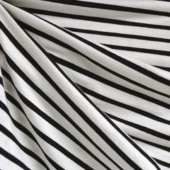 Jersey Knit Uneven Stripe Vanilla/Black - Fabric - Style Maker Fabrics