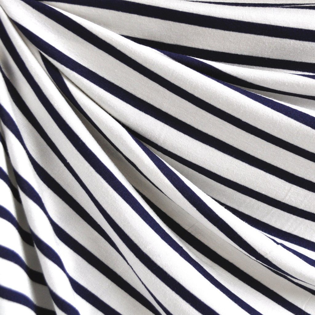 Jersey Knit Uneven Stripe Vanilla/Navy - Fabric - Style Maker Fabrics