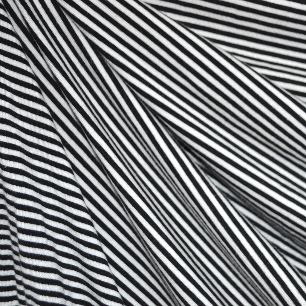 Jersey Knit Mini Stripe Black/White SY - Selvage Yard - Style Maker Fabrics
