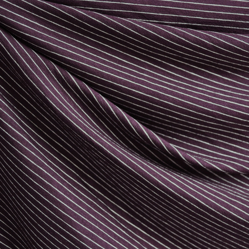 Jersey Knit Pin Stripe Burgundy - Sold Out - Style Maker Fabrics