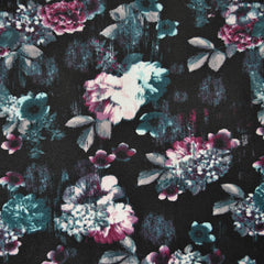 Twilight Floral Crepe Knit Black/Teal - Fabric - Style Maker Fabrics