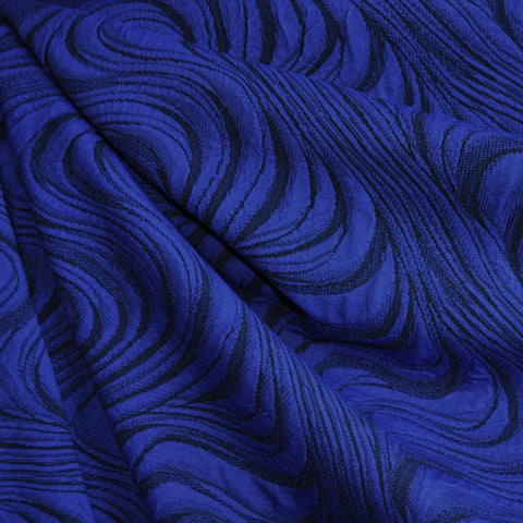 Jacquard Double Knit Swirl Royal/Black