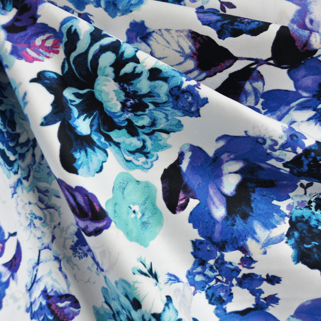 Watercolor Floral Stretch Sateen Blue/Aqua - Sold Out - Style Maker Fabrics