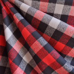 Mammoth Flannel Plaid Check Red/Black - Fabric - Style Maker Fabrics