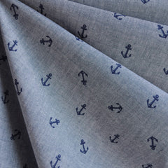 Chambray Boulevard Anchor Print Indigo - Sold Out - Style Maker Fabrics