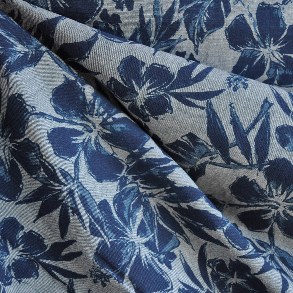 Chambray Boulevard Tropical Floral Denim - Sold Out - Style Maker Fabrics