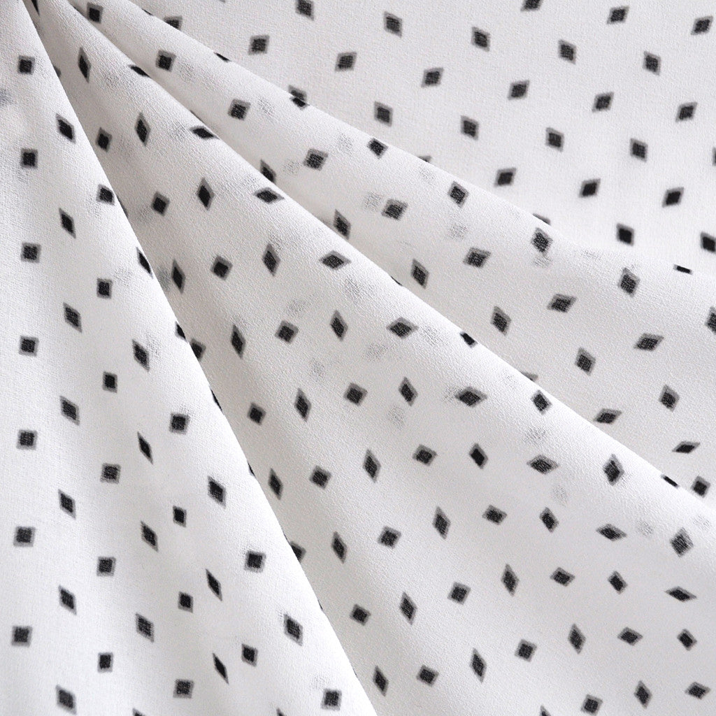 Diamond Sheer Rayon Crepe White/Black - Fabric - Style Maker Fabrics