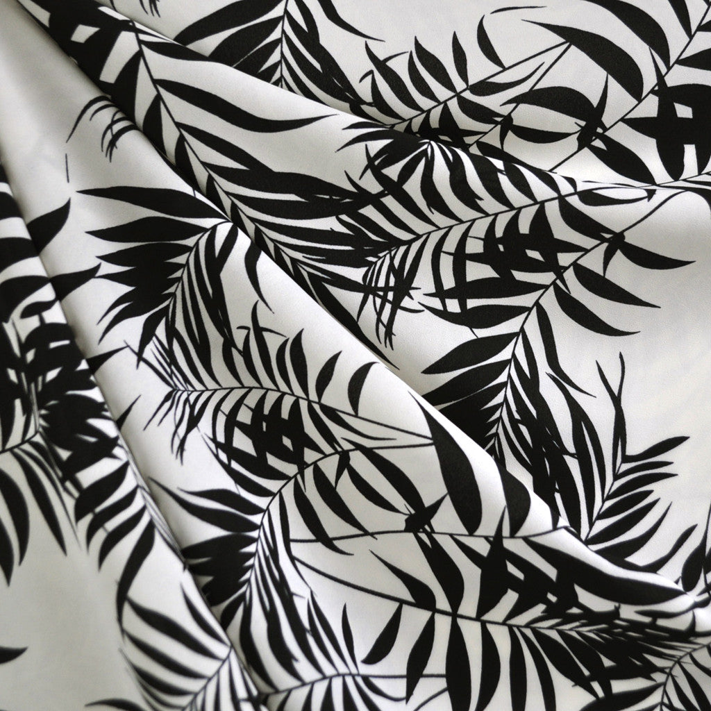 Tropical Leaves Rayon Crepe Cream/Black - Sold Out - Style Maker Fabrics