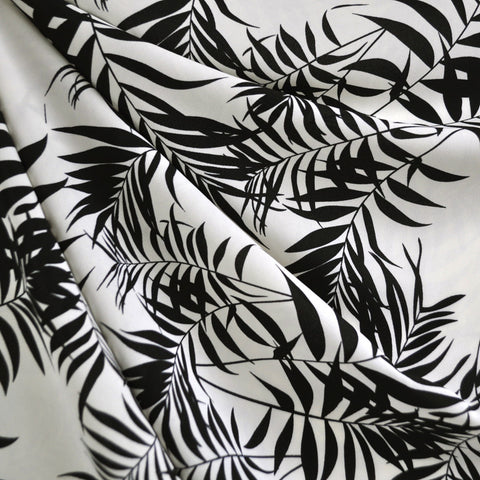 Tropical Leaves Rayon Crepe Cream/Black