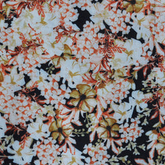 Abstract Floral Rayon Crepe Black/Rust SY - Sold Out - Style Maker Fabrics