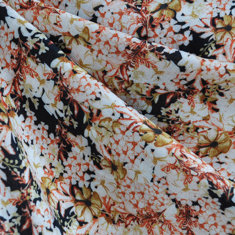 Abstract Floral Rayon Crepe Black/Rust