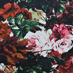 Floral Stretch Sateen Black/Red - Sold Out - Style Maker Fabrics