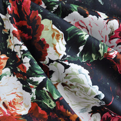 Floral Romance Stretch Sateen Black/Red - Sold Out - Style Maker Fabrics