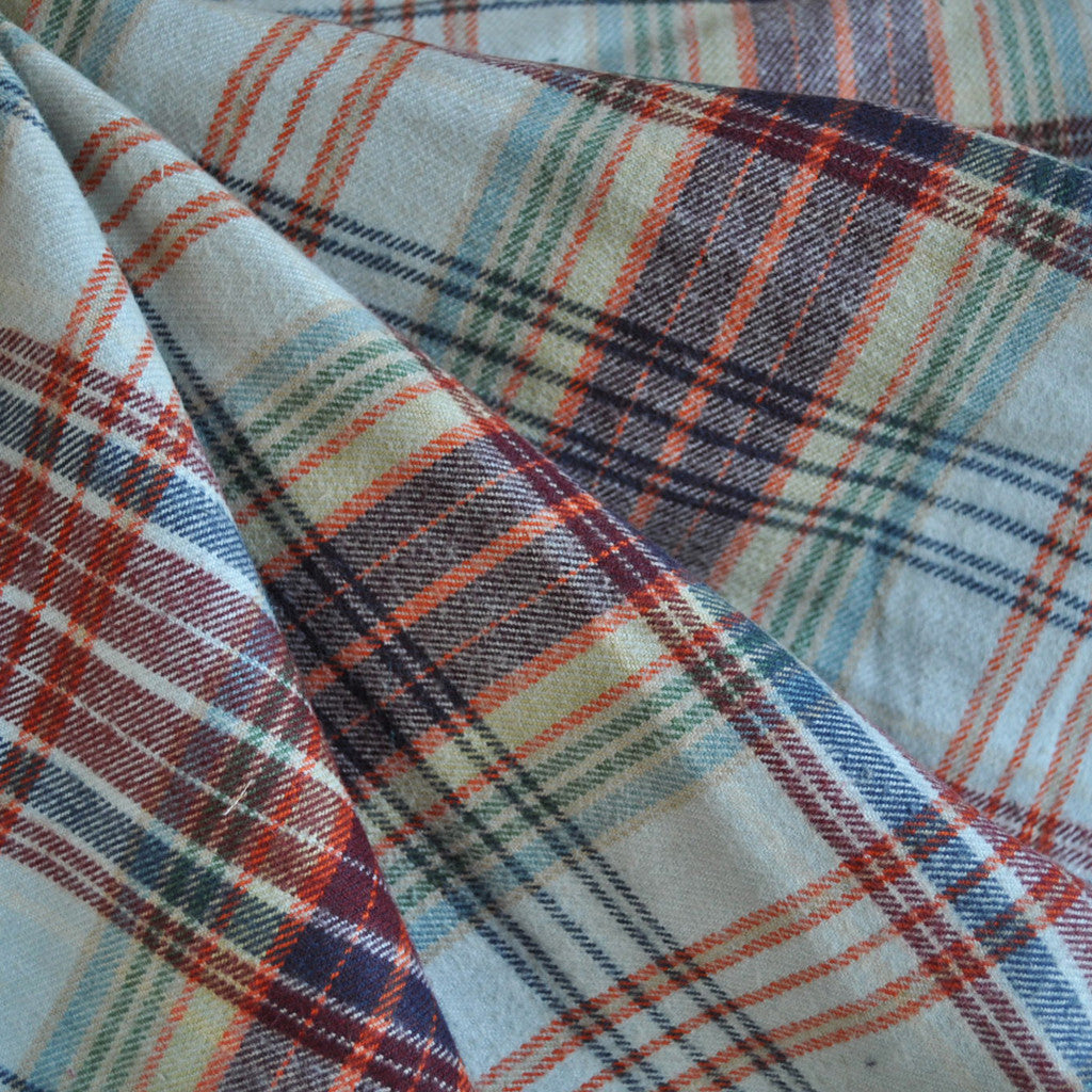 Cotton Flannel Shirting Plaid Multi - Selvage Yard - Style Maker Fabrics