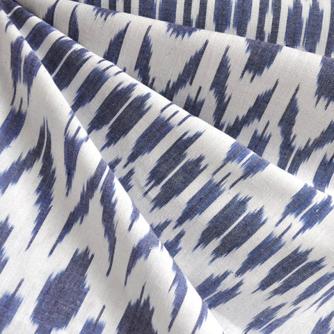 Medallion Ikat Shirting Blue/White