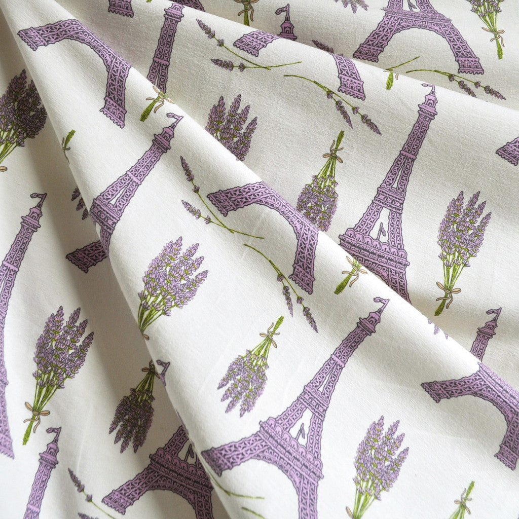 BedHead Lavender Eiffel Tower Jersey Knit Cream SY - Sold Out - Style Maker Fabrics
