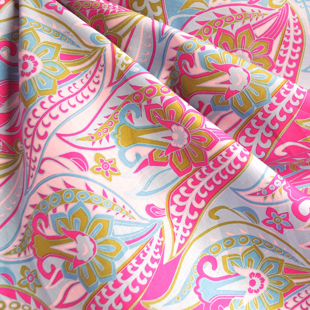BedHead Retro Floral Cotton Lawn Pink - Fabric - Style Maker Fabrics