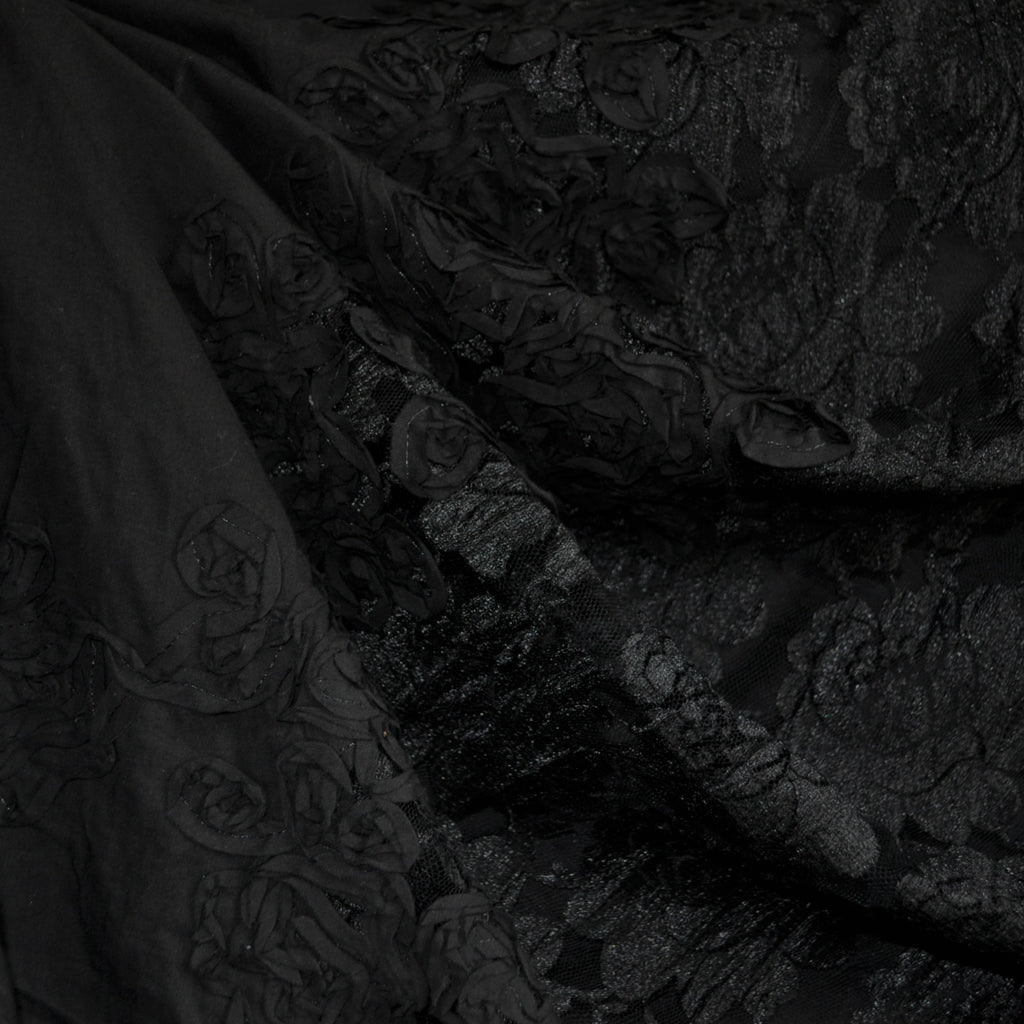 Embellished Lace and Cotton Lawn Border Black - Fabric - Style Maker Fabrics