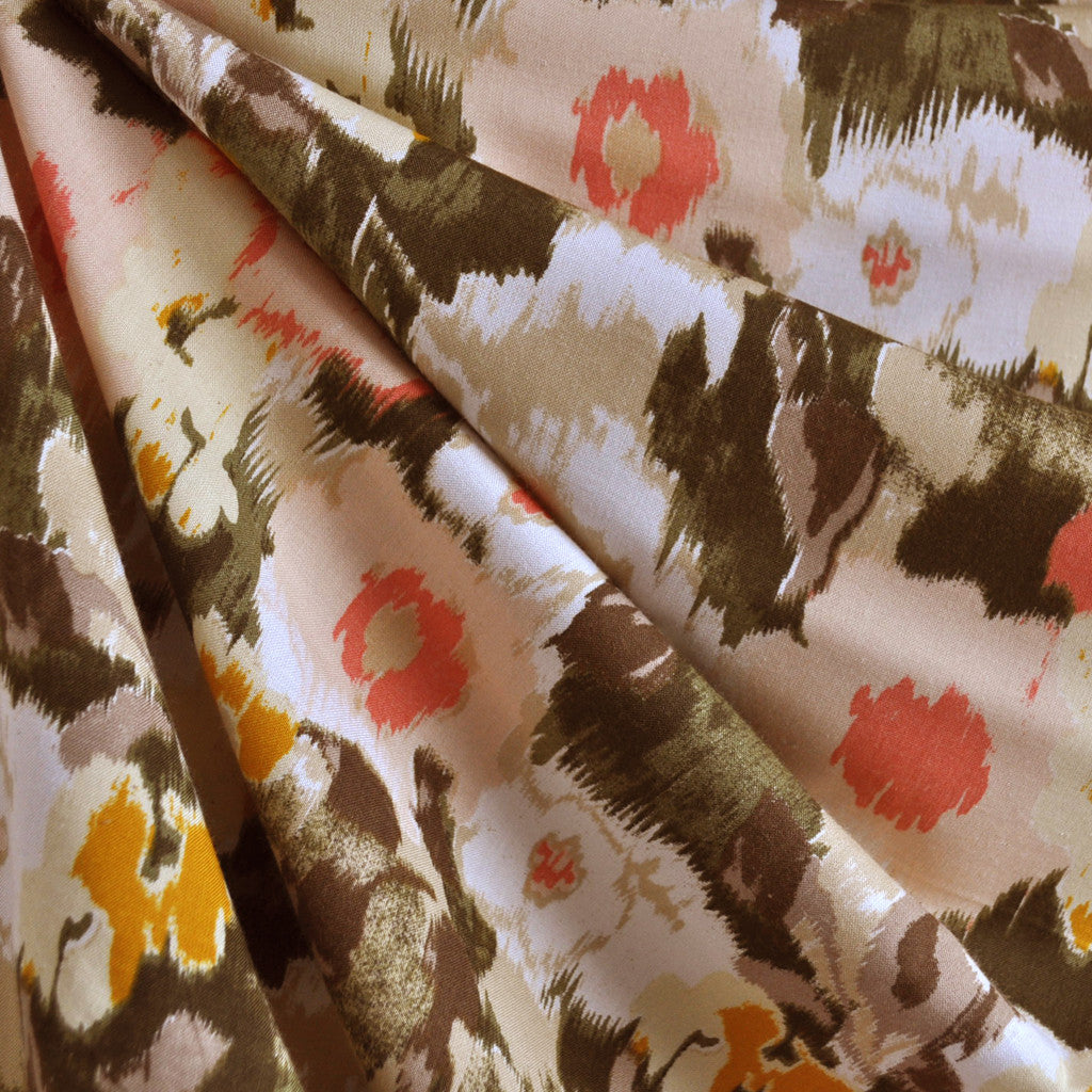 Rayon Challis Abstract Floral Coral/Olive/Beige - Sold Out - Style Maker Fabrics