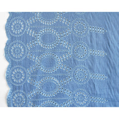 Double Border Eyelet Chambray Blue - Fabric - Style Maker Fabrics