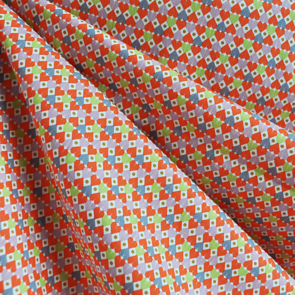 Graphic Hearts Cotton Lawn Orange - Fabric - Style Maker Fabrics