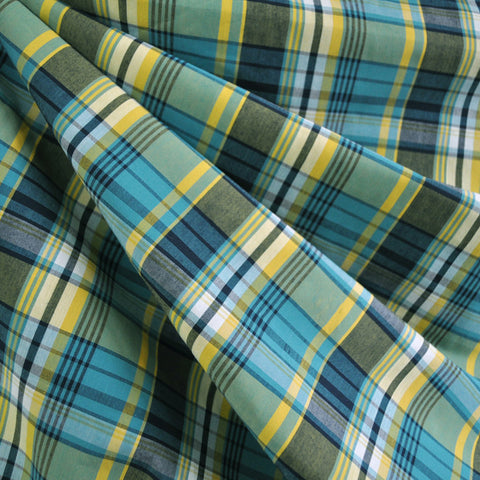 Bermuda Plaid Shirting Teal/Yellow