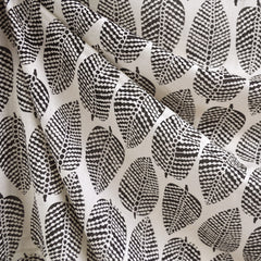 Block Print Leaves Rayon Crepe Cream/Black - Sold Out - Style Maker Fabrics