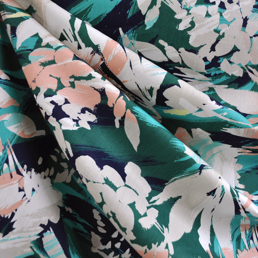 Abstract Tropical Floral Lawn Navy/Aqua - Fabric - Style Maker Fabrics