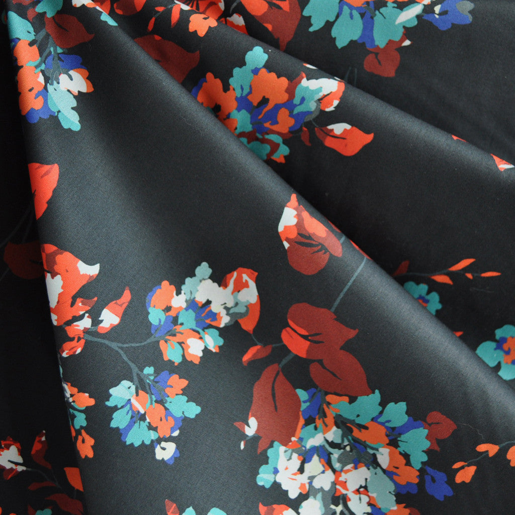 Abstract Floral Cotton Sateen Print Charcoal - Sold Out - Style Maker Fabrics