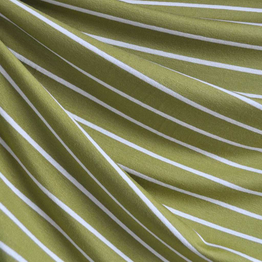 Jersey Knit Stripe Olive/Vanilla - Sold Out - Style Maker Fabrics