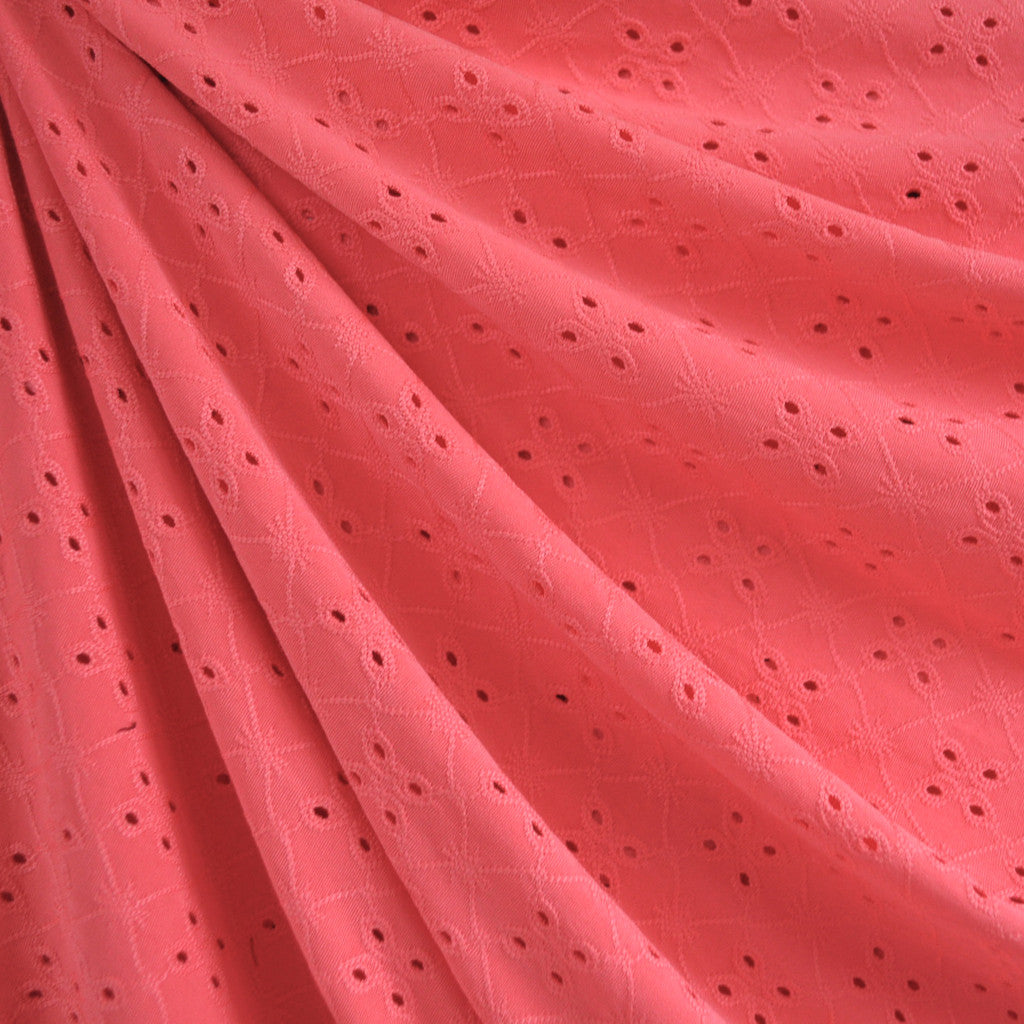 Eyelet Knit Coral SY - Sold Out - Style Maker Fabrics