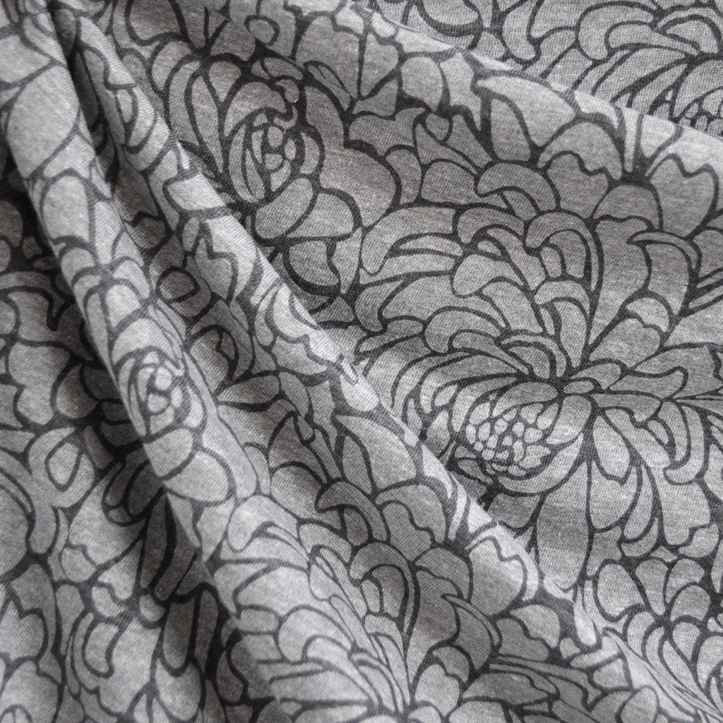 Floral Burn Out Jersey Knit Charcoal - Sold Out - Style Maker Fabrics