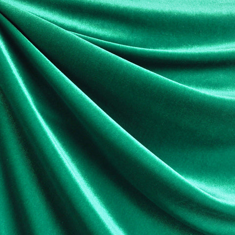 Stretch Velvet Solid Emerald