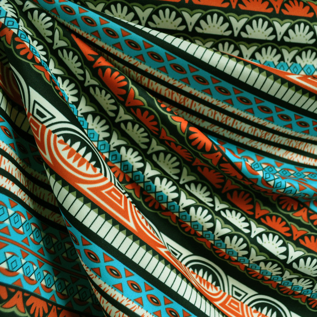 Techno Athletic Knit Aztec Stripe Aqua SY - Sold Out - Style Maker Fabrics