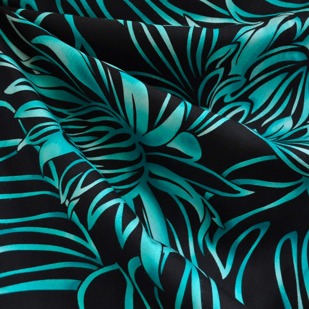 Statement Tropical Rayon Poplin Shirting Black/Aqua SY - Sold Out - Style Maker Fabrics