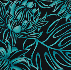 Statement Tropical Rayon Poplin Shirting Black/Aqua - Sold Out - Style Maker Fabrics