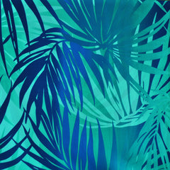 Tropical Leaves Poly Crepe Aqua SY - Sold Out - Style Maker Fabrics