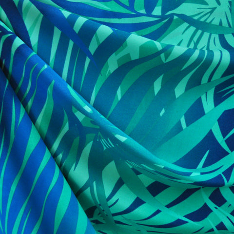 Tropical Leaves Poly Crepe Aqua SY